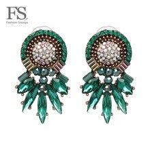 FASHIONSNOOPS Bohemian Hot Brand Wedding Colorful Charm Earrings Women Female Fa