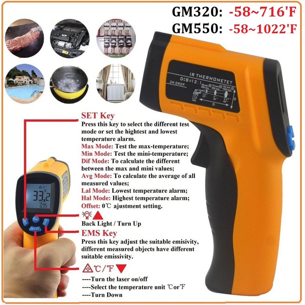 HoldPeak IR Thermometer Digital Berührungslose Infrarot-thermometer Laser Temperatur Messinstrumente Pyrometers