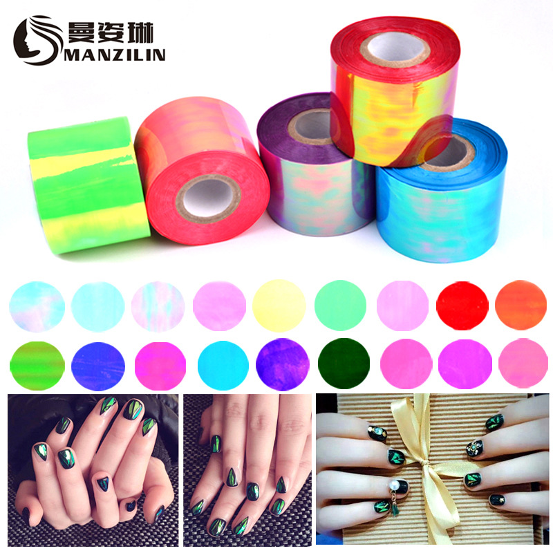 Nail Art Sticker Candy Color Bright Nail Decoration 5*100 Press On Nails Glass Nail Art Manicure Stencil Stickers Stamp Template 10pcs nail art stamping printing skull style stainless steel stamp for diy manicure template stencils jh461 10pcs
