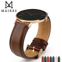MAIKES Hot Selling Watch Band For Daniel Wellington Vintage Dark Brown Watch Strap Genuine Leather Wrist Band Accessories все цены