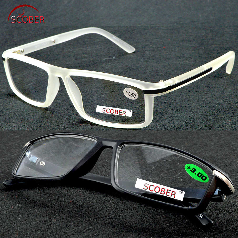 =SCOBER= Full-rim High Quality Reaging Glasses Retro Vintage Rectangle Clear or Black Eyeglasses +1 +1.5 To +3.5 Custom lens