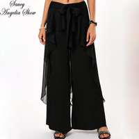 SAUCY ANGELIA Women Long Wide Leg Pants Vogue Chiffon Ruffles Bottom Pants Lace Up Slimming Waist Pantalon Femme Streetwear