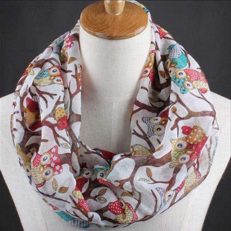 Newly Design Women Ladies Owl Cartoon Print   Scarf   Warm   Wrap   Shawl O Neck Rings vintage Drop Shipping Female   Scarves   2019 hijab