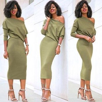 AiiaBestproducts Women One Shoulder Summer Split Long Dress 1
