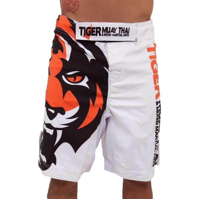2015 Pria Putih Tiger Muay Thai MMA Celana Pendek Olahraga Tempur Tinju Celana Muay Thai Tinju Celana Pendek Kick Celana celana