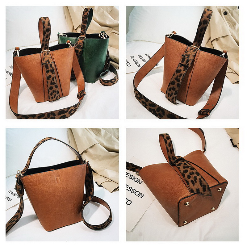 FUNMARDI Famous Brand HandBags For Women Bags Designer Leopard Messenger Bag Shoulder Bucket Bags 2pcs Composite Bags WLHB1845