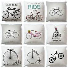 Vintage bicicleta Retro algodón Lino Throw Pillow funda de cojín decorativa decoración del hogar para el sofá del coche
