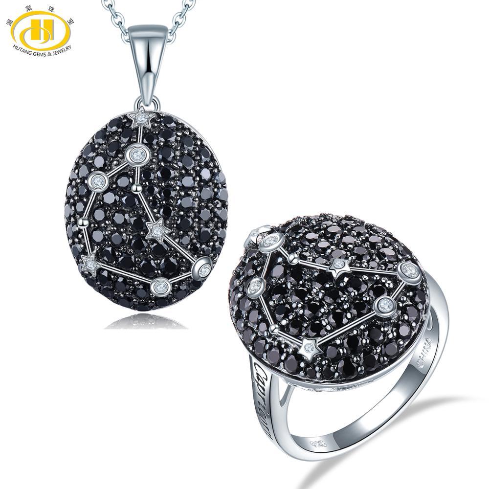 Brillant Argent Sterling 925 Noir Spinelle Pierre précieuse collier pendentif pour femmes