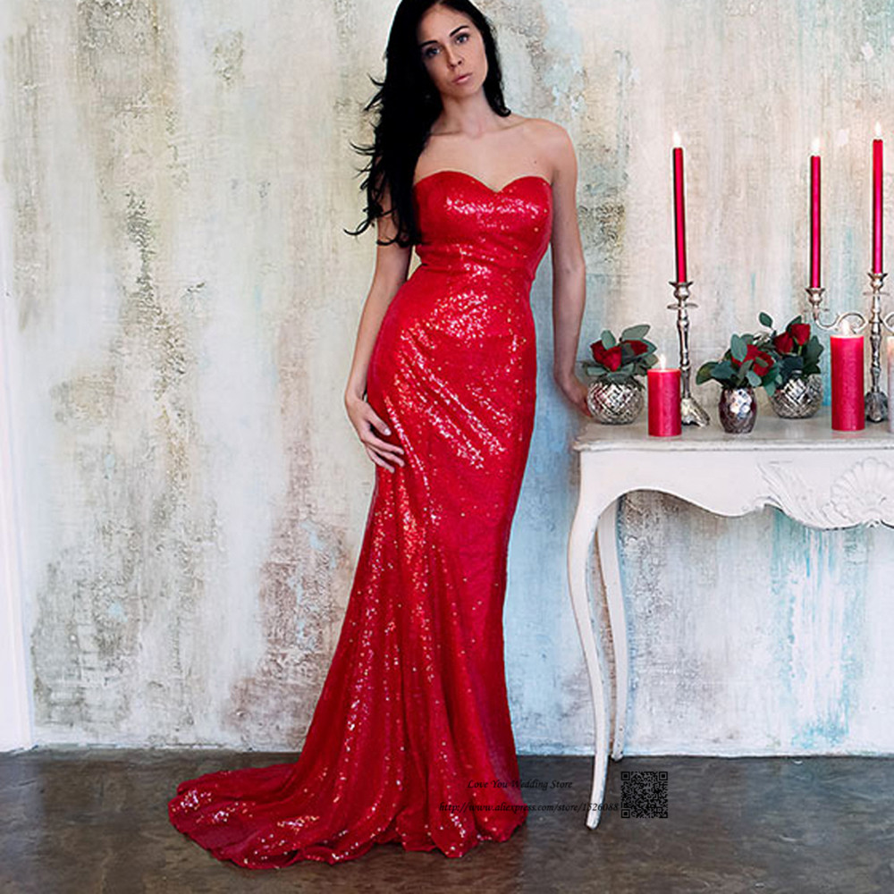 Cheap Red Sequin Evening Dresses Long Mermaid Prom Dress 2016 Special Occasion Formal Gowns Vestido De Festa Longo Abendkleider