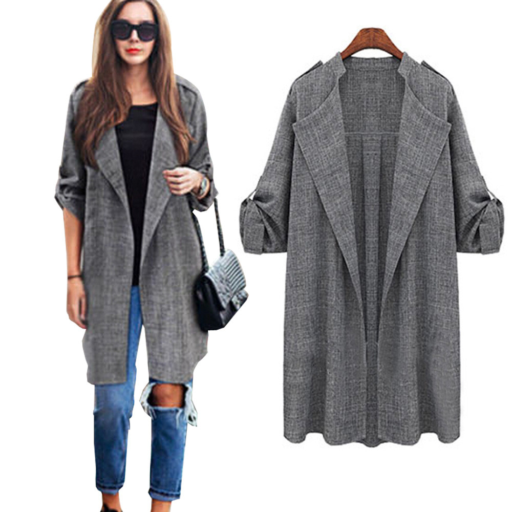 large Plus size 5XL Womens Open Front Trench Coat Long Cloak ...