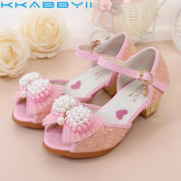 High Heel Kids Sandal For Girls Glitter PU Princess Shoes Children Girls Spring Autumn Party Wedding
