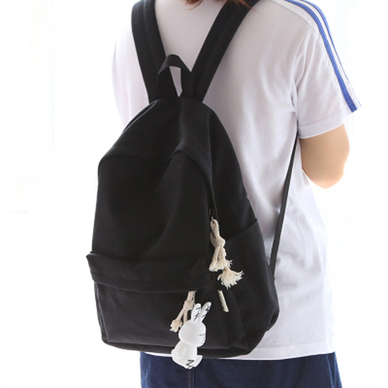 Hot Sale Simple Fresh Design Pure Color Canvas Girls Backpack
