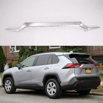 For Toyota RAV4 2018 2019 High-quality ABS Carbon fiber/Chrome plated Rear Trunk Lid Cover Trim Car-styling image