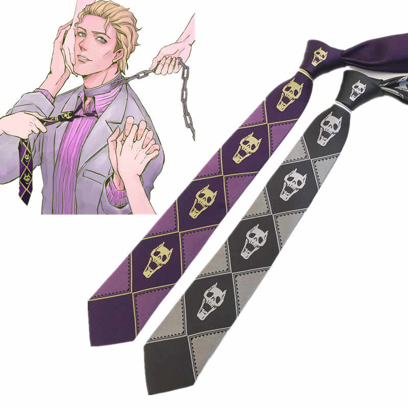 Anime jojo Kira Yoshikage Cosplay Tie KILLER QUEEN Skull Neck Heavens Door Cosplay Costume JoJo's Bizarre Adventure