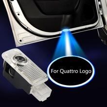 2-20pcs For quattro Emblem Car Door Light Car Tunning For Audi A3 8P A4 B6 B8 A1 A6 C5 A5 Q5 Sline Shadow Courtesy Led Projector