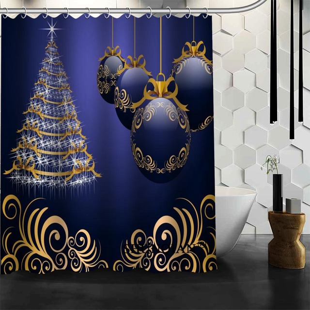 Waterproof Bathroom Curtains Modern Christmas Tree Shower Curtain Polyester Bath Screens Customized