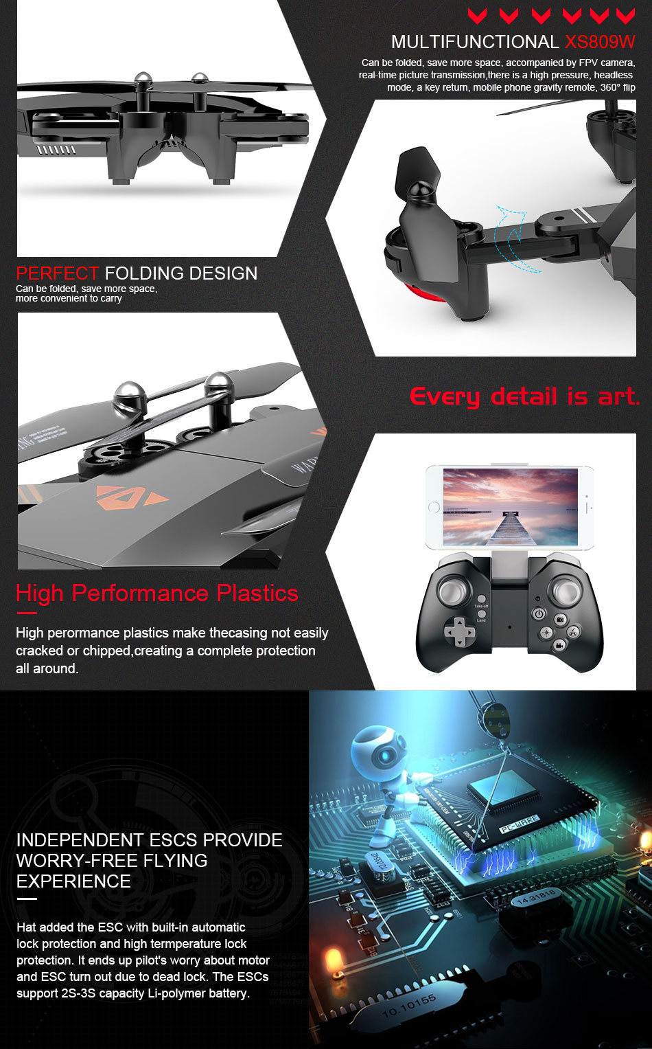 VISUO XS809W XS809HW Mini Foldable Selfie Drone with Wifi FPV 0.3MP or 2MP Camera Altitude Hold Quadcopter Vs JJRC H37