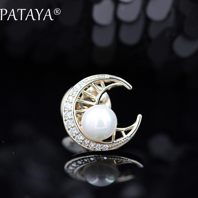 PATAYA New Arrivals 585 Rose Gold Moon Brooches White Natural Pearls Cubic Zirconia Wedding Party Jewelry For Women Cute Gift
