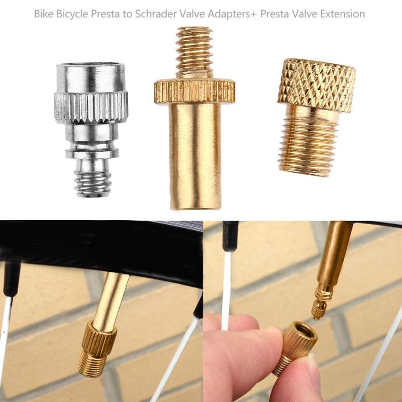 3pcs/set Aluminum Alloy Bike Bicycle Presta To Schrader Valve Adapters+ Presta Valve Extension