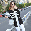 2015 Brand Women Black Cardigan Long Sleeve Winter Autumn Female Casual Slim Overcoat Fashion Style Outerwear Knitted Coat