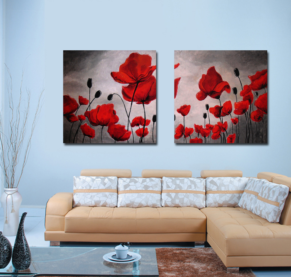 Wall Art Paintings For Living Room Aliexpresscom Buy Red Poppy Painting Wall Art Canvas Prints