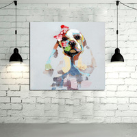 Moderne Kunst Abstrakte Großhandel Gute Qualität Venedig Tier Ölgemälde Abstrakte Pudel Hund Wand Bilder Wohnkultur Auf Leinwand