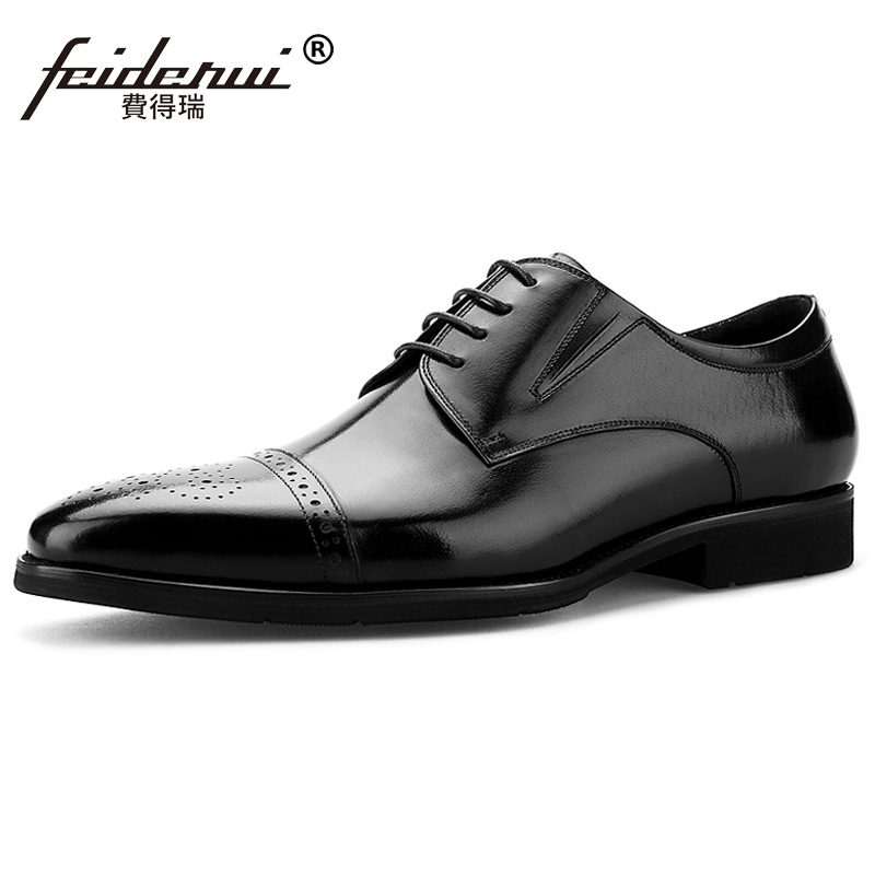 British Style Carved Man Brogue Shoes Vintage Genuine Leather Formal Dress Oxfords Pointed Toe Derby Men's Office Footwear MG02  ruimosi new arrival formal man bridal dress flats shoes genuine leather male oxfords brand round toe derby men s footwear vk94