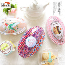 CUSHAWFAMILY Large ellipse Handmade cookies/candy cake box candy receive storage iron box wedding favor tin Gift box container(China)