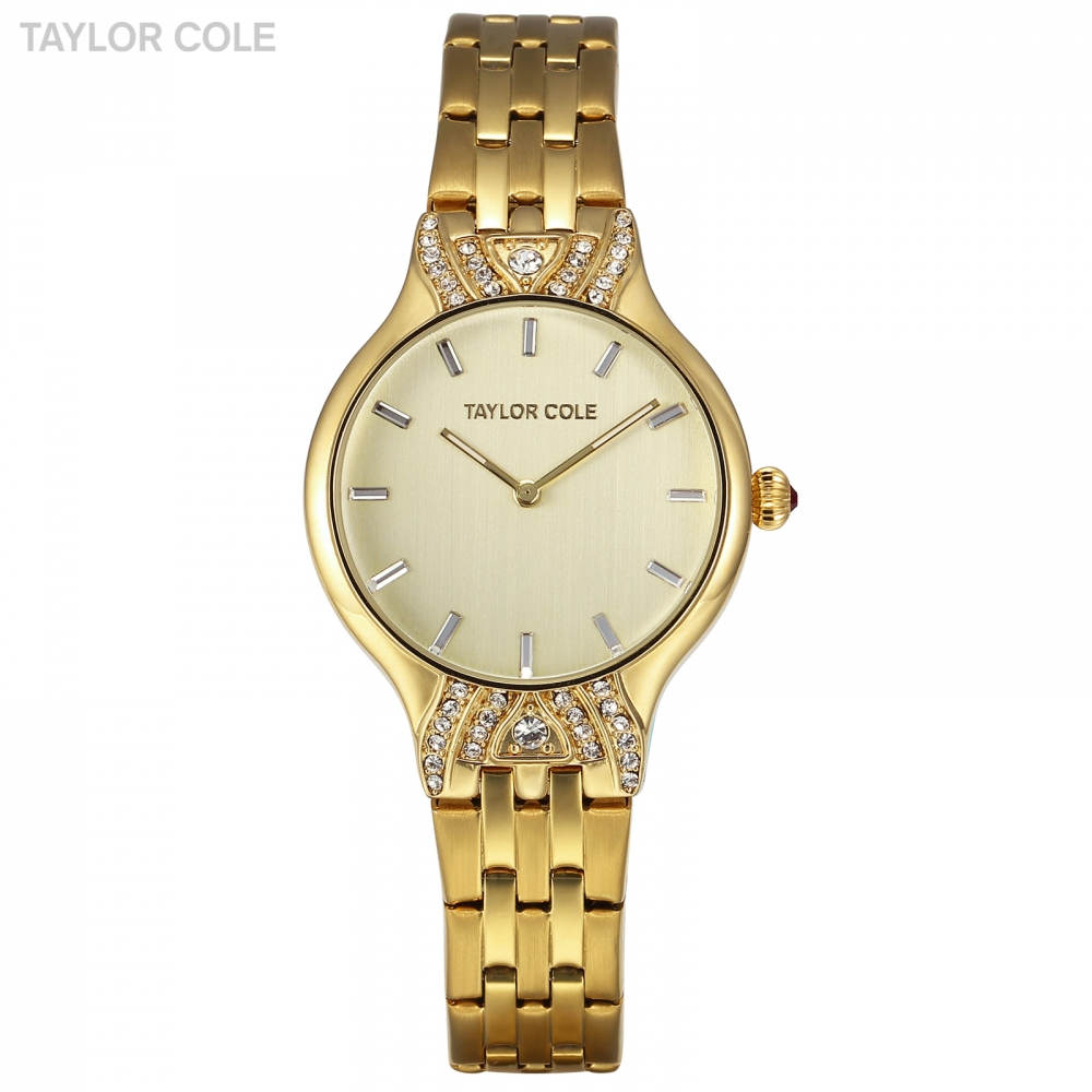 Brand New Taylor Cole Watches for Women Crystal Golden Ladies Analog Quartz Watch Steel Band Bracelet Relogio Masculino / TC093 stylish golden hollow rounded rectangle hasp bracelet for women
