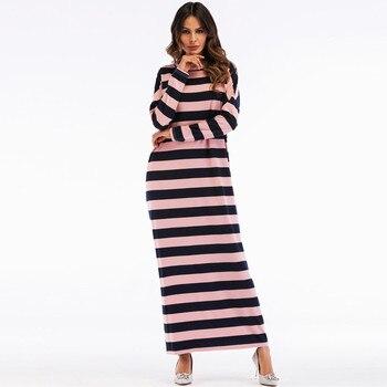 0b48a659e6b Новый Женские мусульманские Длинные платье абайя в полоску длинный ...