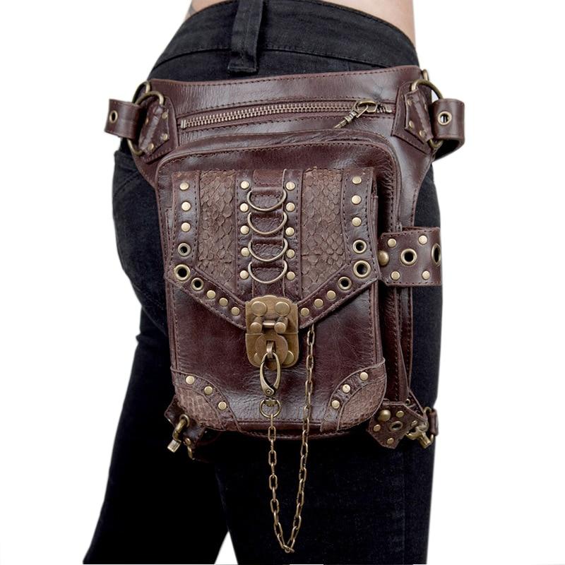 InOne Femmes Hommes Unisexe Vintage Steampunk Jambe Vapeur Punk Rétro Rock Gothique Rétro Goth Épaule sacs pour la taille Packs Moto Sac