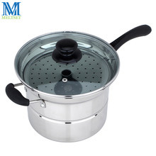 Multifuntion Stainless Steel Noodle Pot Saucepan 22CM Pasta Pots Single/Double Bottom Steamer Pan Kitchen Boiler With Strainer