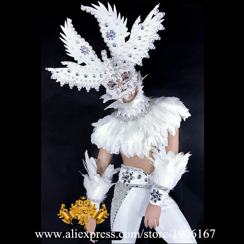 Fashion Men White Feathers Stage Ballrooom Costume Angel Man font b Clothing b font Party Christmas