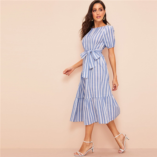 Lady Pleated Detail Belted Flippy Hem Striped Maxi Dress Women Casual Cotton High Waist Puff Sleeve Summer Dress