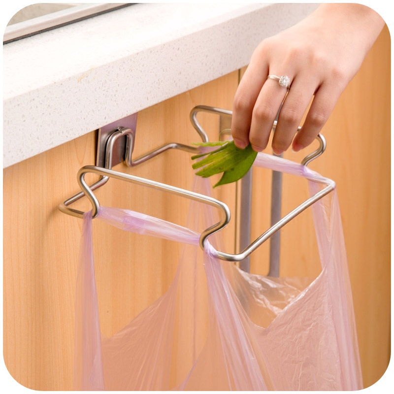 Stainless steel kitchen trash bag holder door hook garbage bags hanger Cupboard Stand Support storage rack Accessories [ fly eagle ]free shipping blue bird over door stainless steel hook holder hanger for kitchen