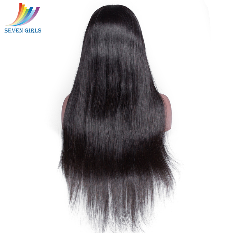 Sevengirls Straight Lace Front Human Hair Wigs Pre Plucked With Baby Hair Brazilian Natural Color Wigs 8-26 Inch For Black Women