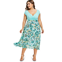 ROSE GAL Women Plus Size 5XL Tropical Floral Print V-Neck A-Line Midi Holiday Dress Casual Short Sleeves Summer Dresses Vestidos