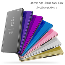 Mirror Flip Case For Huawei Nova 4 Nova4 Luxury Clear View PU Leather Cover Smart phone for