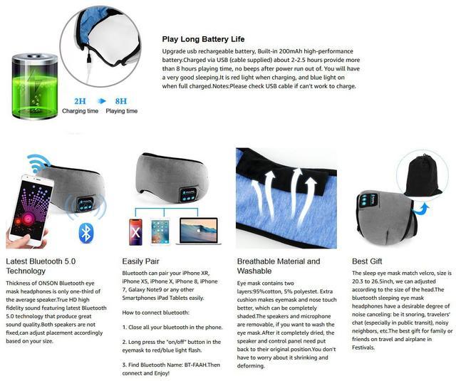 Máscara de sueño con auriculares Bluetooth 5,0 estéreo 1