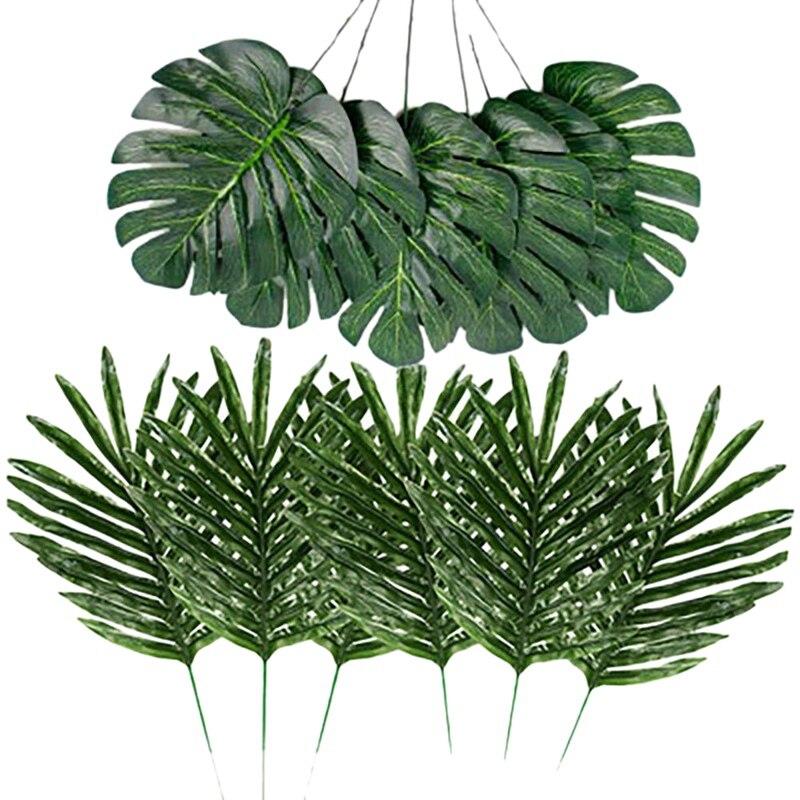 Quality 24 Pcs 2 Kinds Tropical Plant Palm Leaves Artificial Palm Leaves Faux Leaves Safari Leaves Hawaiian Turtle Leaf Luau