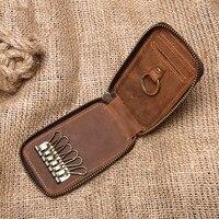 Wholesale 2019 Brand New Crazy Horse Genuine Leather Smart Key Wallet DIY Keychain Pocket Car Key Holder Key Organizer Holder