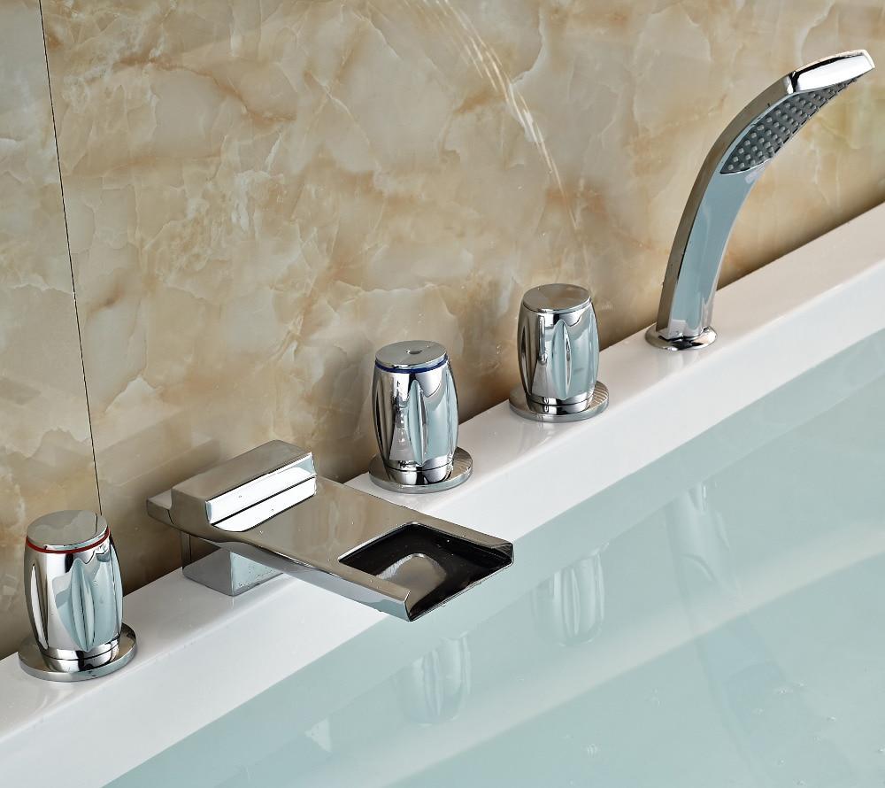 Bathroom Tub Faucet Chrome Polish Waterfall Spout Tap Deck
