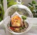 3 pcs Jardim Encantado de vidro casa de bonecas em miniatura casa de boneca diy caixa casa de vidro mão bola Com luzes LED Atacado
