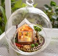3pcs Enchanted Garden house miniature dollhouse glass diy doll house glass ball hand housing With LED lights Wholesale