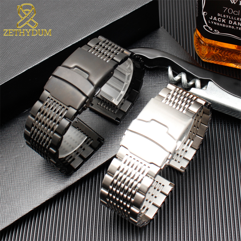 Stainless Steel Bracelet 24mm Mens Watches Strap Solid Metal Watch Band 22mm 316l Stainless Steel Bracelet Double Safety Buckle