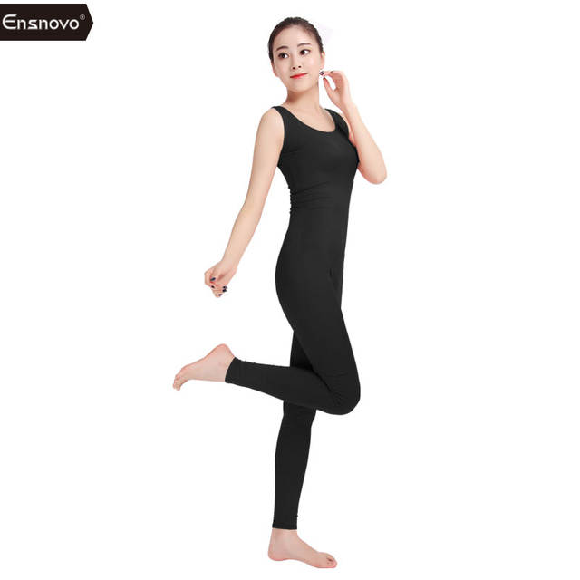Ensnovo Womens Spandex Sleeveless Bodysuits Dance Costume for Ladies Black  Gymnastic Unitard Outfit Spandex Male Bodysuit c7971999be