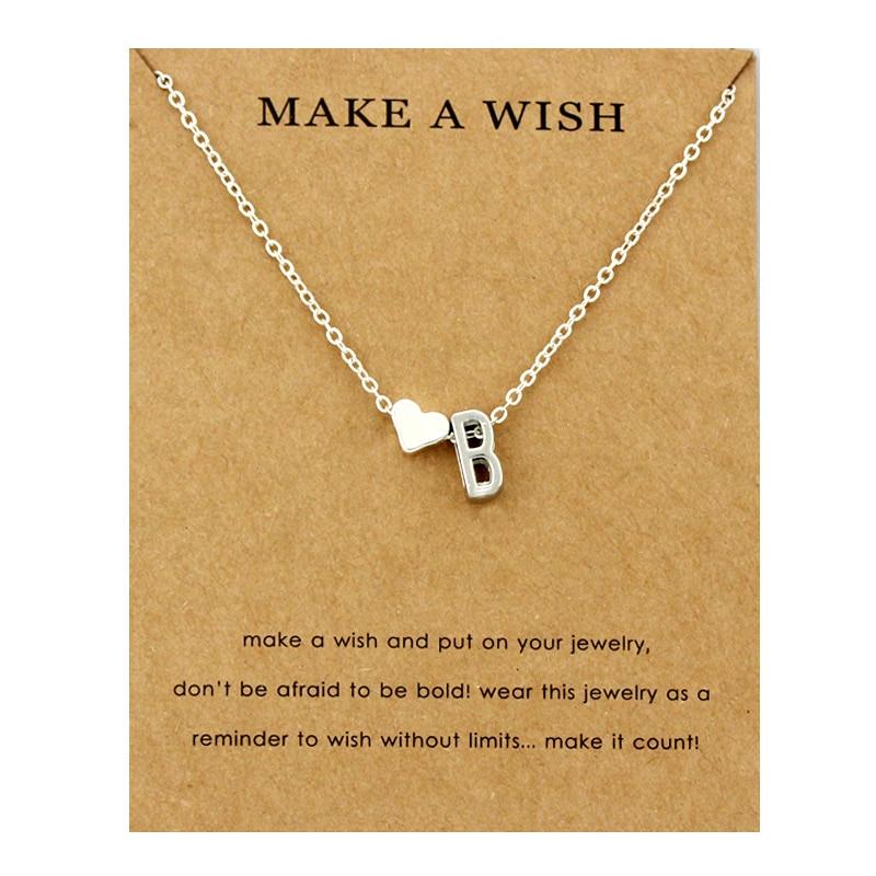 Сердце начальные Подвески ожерелье s персонализированное ожерелье с буквами Имя ювелирные изделия для женщин мужчин аксессуары подруги любовника пара подарок - Окраска металла: NE1656