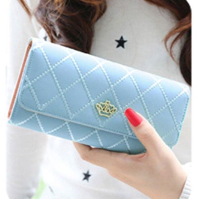 Women Wallet Clutch Bag Vintage Crown Wallets Girls ID Card Holder Embellishment Plaid Purse Phone Case Money Bag 1