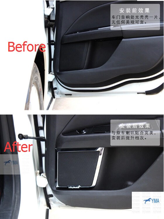 For Ford Mondeo 2014 2015 / Fusion 2014 2015 Chrome Side Door Audio Speaker Molding Bezel Cover Trim 4 pcs for ford fusion mondeo 2013 2014 2015 control glass water panel protective film stickers carbon cover