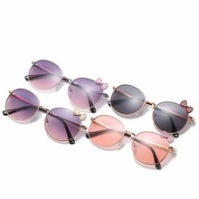 New Style Children Sunglasses Round Frame Bow Ocean Piece Lovely Kids UV400